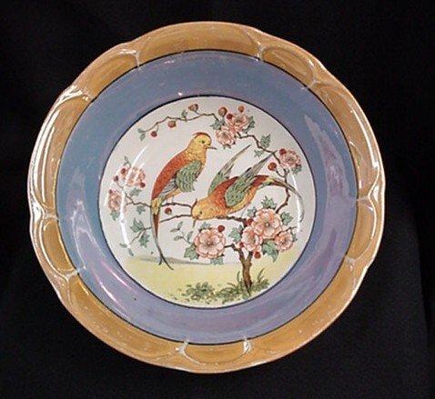 1006: Lovebirds pattern serving bowl signed Germany