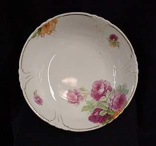 Rose floral china serving bowl