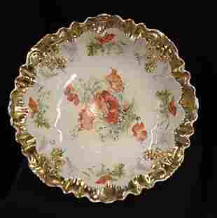 Hand painted gold gilded serving bowl