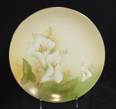 1023: R S Germany hand painted calla lily design plate