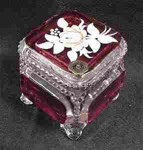 1075: Westmoreland handpainted glass jar