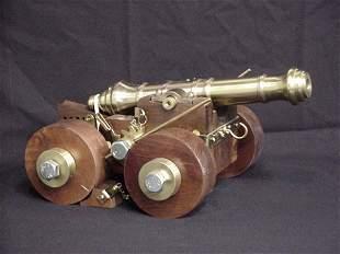 Decorative miniature cannon brass/wood