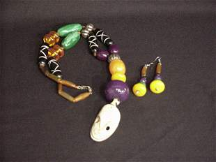 Colorful African necklace and earring set