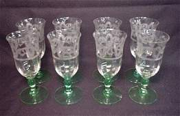 2043: Set of eight green depression glass wine goblets