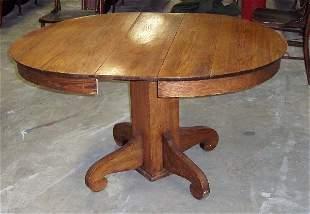 "48"" ROUND OAK TABLE/ 1 LEAF"