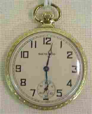 Elgin pocket watch with engraved case