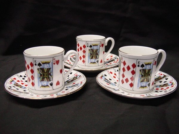 """2002: Tiffany & Co. """"Playing Cards"""" 3 demi cups & sauce"""