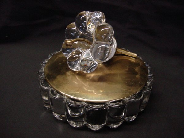 """2004: Heisey """"Crystolite"""" candy dish with glass finial"""