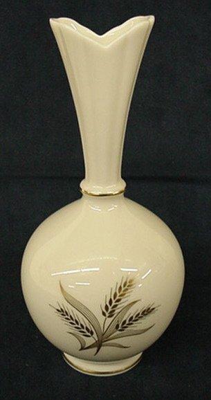 """2008: Lenox """"Wheat"""" bud vase"""