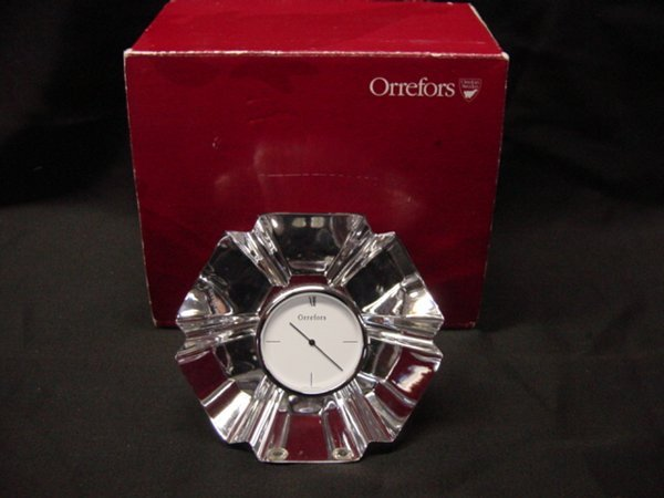 2017: Orrefors crystal clock with original box - 2