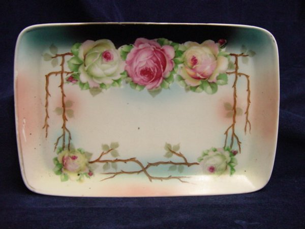 7011: Hand-painted dresser tray, 3 crown Germany