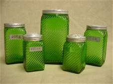 7019: Green depression 5-piece cannister set