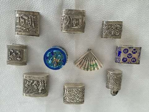 Set of 10 Chinese silver box