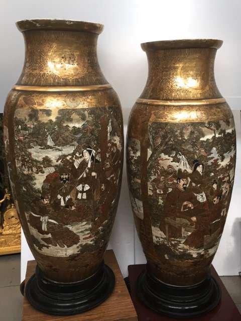 Pair of Satsuma large vases