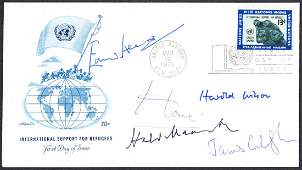 1971 United Nations FDC signed by 5 Prime Ministers:
