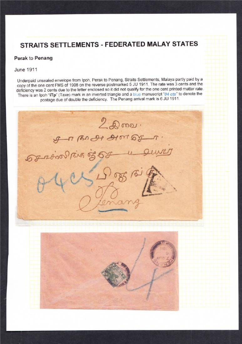Perak to Penang 1911 letter partly paid by FMS 1908 1c