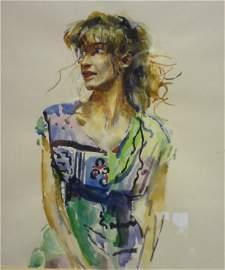 Paintings - Patti Avery by Robert Lenkiewicz, original,