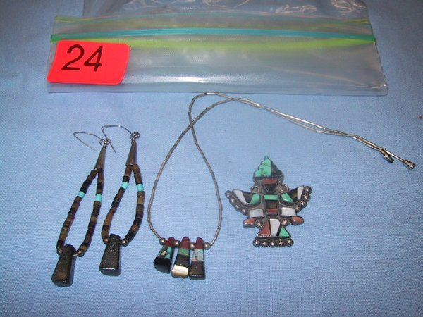 24: Turquoise pin, pendant and earrings