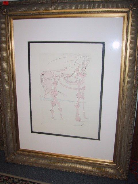 """36: Framed signed Salvador Dali etching """"Chev"""