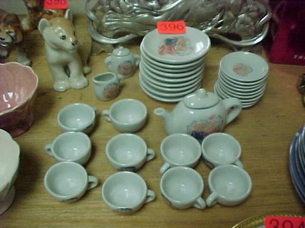 396: Pretty Port LTD. Child's tea set w/ tedd