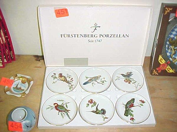 """451: Set of six """"Furstenberg Porzellan"""" decor"""