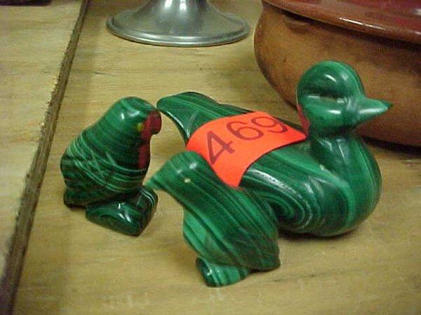 469: Set of three carved stone birds, green w