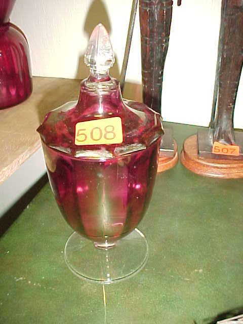 508: Red glass candy dish w/ lid and clear ba