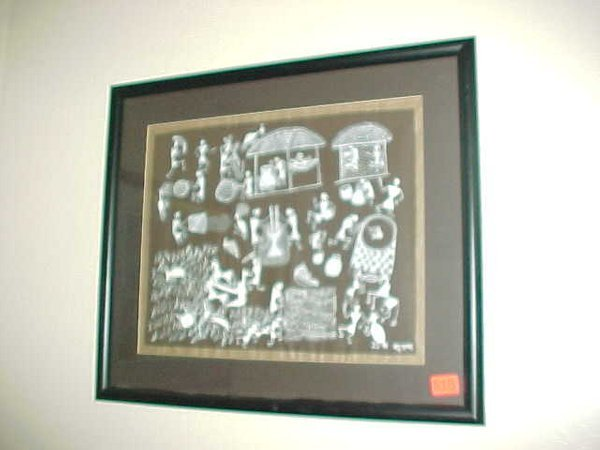 515: Signed painting of story, framed