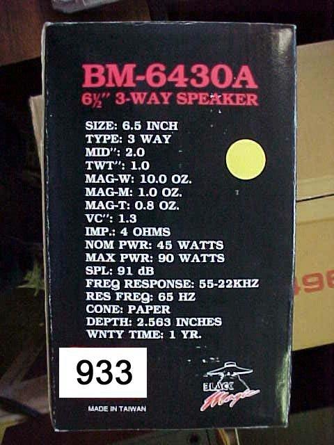 "933: Black Magic BM-6430A Car Speakers,  6.5"""