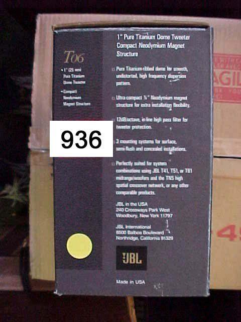 """JBL-T06 1"""" Pure Ttanium Dome Tweeter 50"""