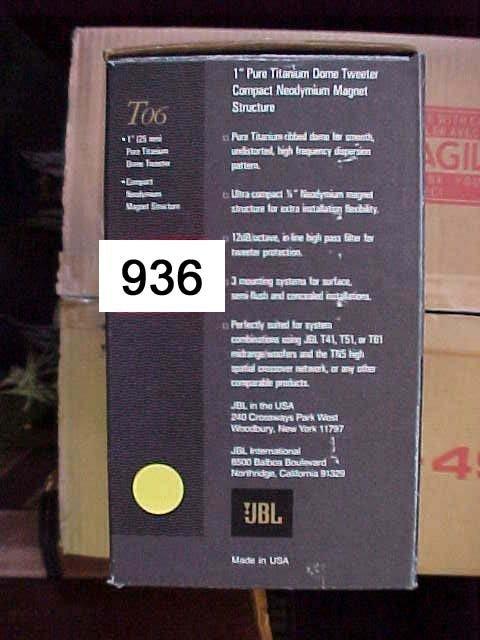 """936: JBL-T06 1"""" Pure Ttanium Dome Tweeter 50"""