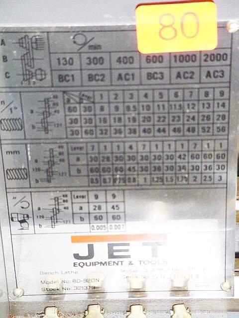 80: Jet metal bench lathe, 3/4HP, Model BD920 - 3