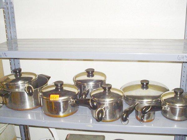 664: Revere copper bottom pots/pans