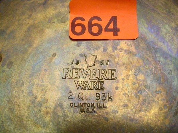 664: Revere copper bottom pots/pans - 2
