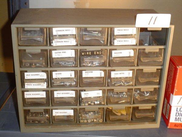 """11: Small plastic multi-bin toolbox 12"""" x 9.5"""