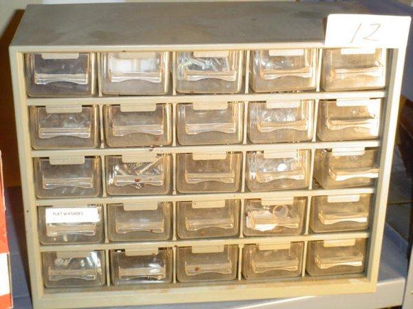 """12: Small plastic multi-bin toolbox, 12"""" x 9-"""