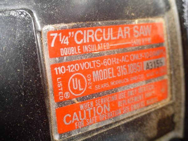 "107: Craftsman 2 HP 7-1/4"" circular saw Model - 2"