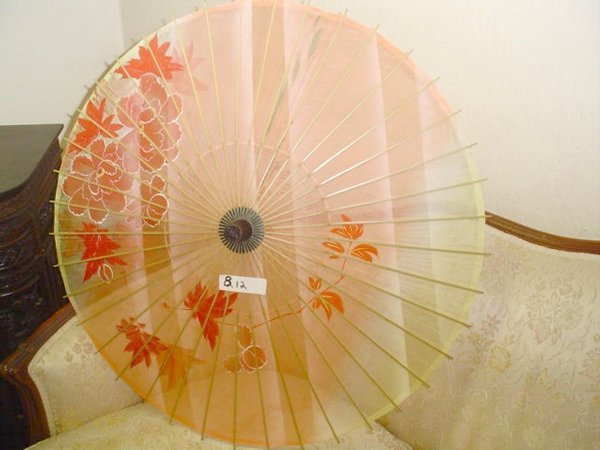 812: Silk Parasol, hand-painted floral design.  Bamboo