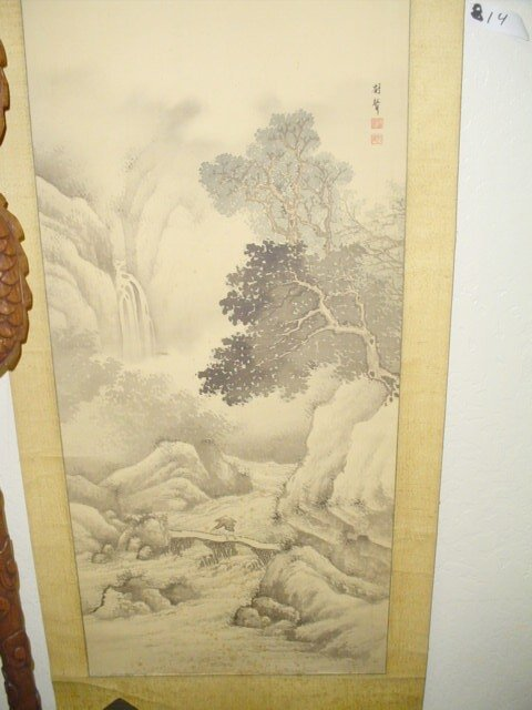 814: Scroll Japanese Chinese, hand-painted on silk.  Si