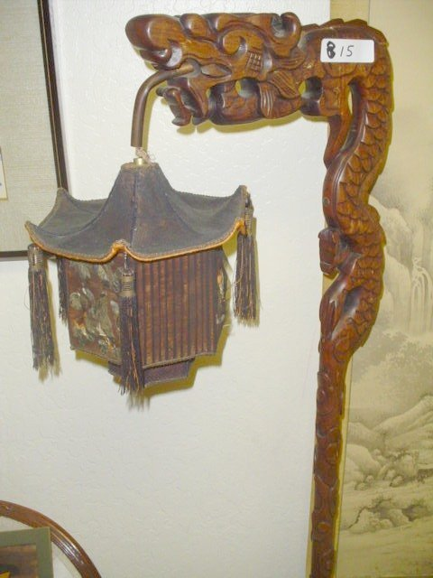 815: Dragon lamp with shade.  Hand carved wood.  Shade