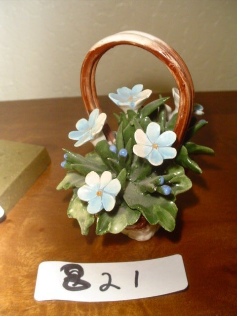 """821: Capodimonte basket of flowers, made in Italy.  5"""""""