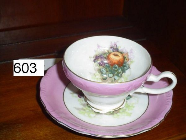 """603: Cup & saucer by Royal Halsey.  Underneath marked """""""