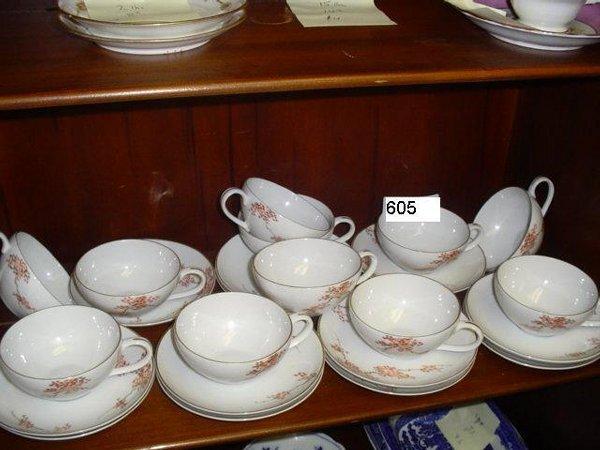 605: 11 cups & 12 saucers Fukagawa Arita hand painted,