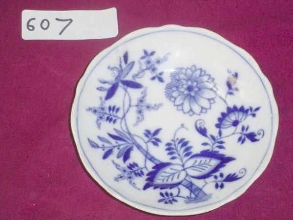 "607: 1 saucer flow blue Meissen, stamp has ""England"" wi"