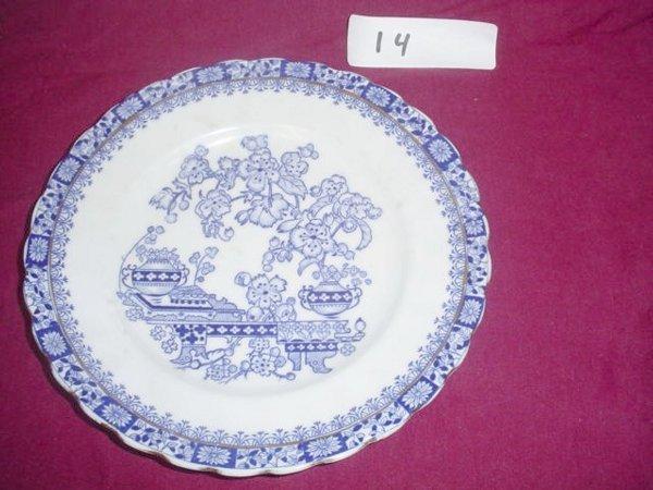 614: Blue & white flow blue pattern salad plate.  Marke