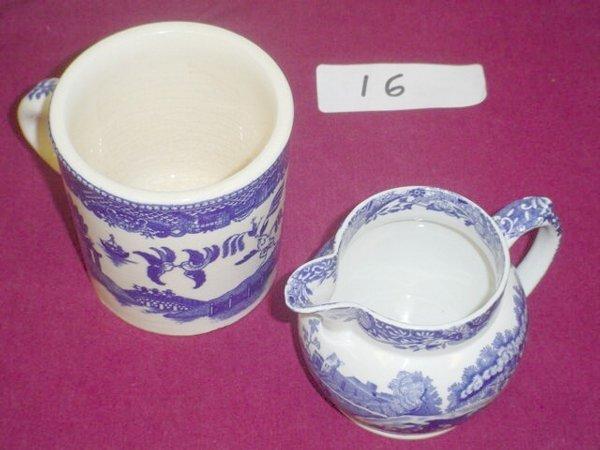 616: 2 pieces Copeland Spode's Italian, England.  Blue