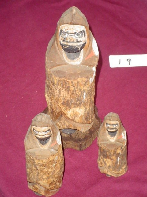 619: 3 wooden carved items with 1 wooden stand.  Marked