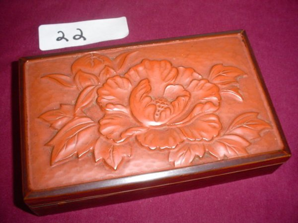 622: Ichi-I wood box from the Yew tree.   Peony carved