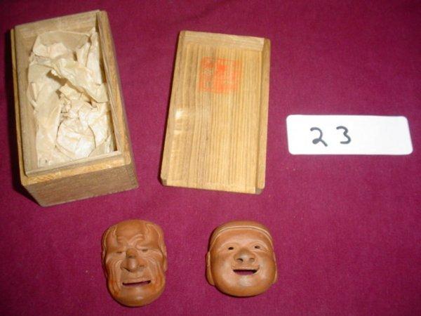 623: Pair Japanese Netsukes.  In original box. Terracot