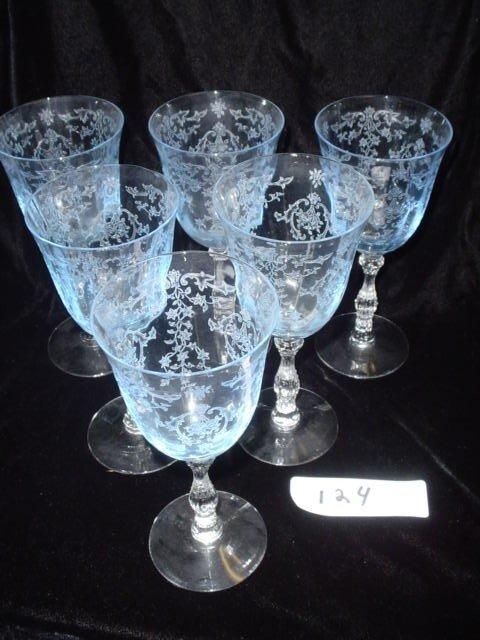 724: 6 Fostoria wine glasses, raised design, blue